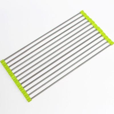 ShopAis Kitchen Wash Utensils Dish Drainer Steel, Plastic Kitchen Rack(Green)