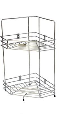Kitchking Diamond Corner-Double Stainless Steel Kitchen Rack(Silver) at flipkart