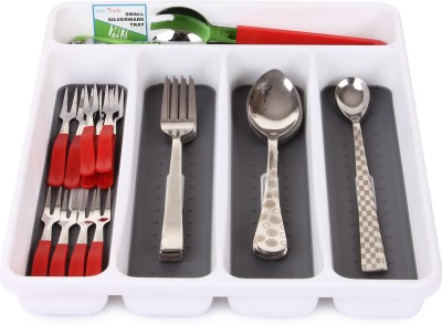 Uberlyfe Smart Cutlery Plastic Kitchen Rack(White) at flipkart