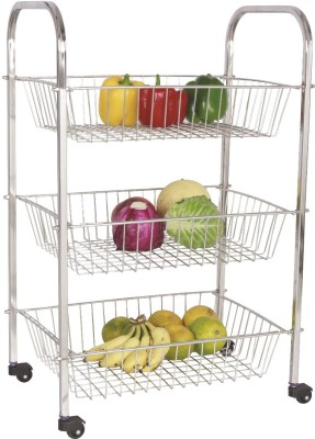 Amol Jumbo Trolley 3 Baskets Stainless Steel Kitchen Trolley at flipkart