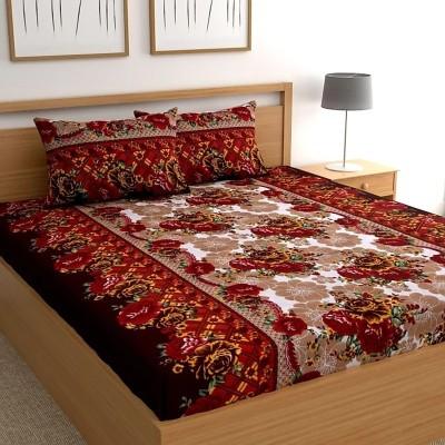 HSR Collection 160 TC Cotton Double Floral Bedsheet(Pack of 1, Multicolor)