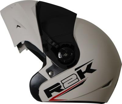 Steelbird R2K OSKA Reflective ISI Certified Flip Up Helmet Dashing White Motorbike Helmet(White with Smoke Visor)