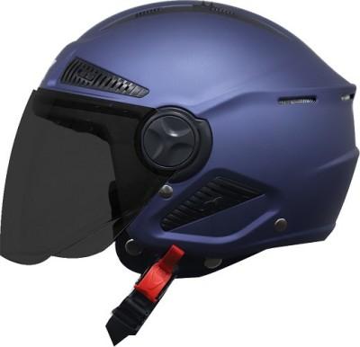 Steelbird Boxx Open Face Helmet, ISI Certified Helmet in Matt H. Blue with Smoke Visor Motorbike Helmet(Blue)