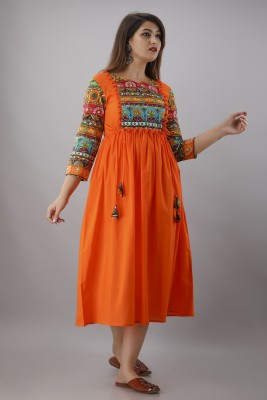 Mahageeta Women Printed A-line Kurta(Orange)