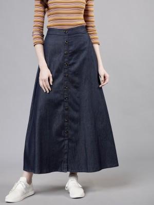 Tokyo Talkies Solid Women Flared Blue Skirt