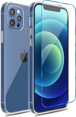 CZARTECH Back Cover for iPhone 12, iPhone 12 Pro, with Tempered Glass(Transparent)