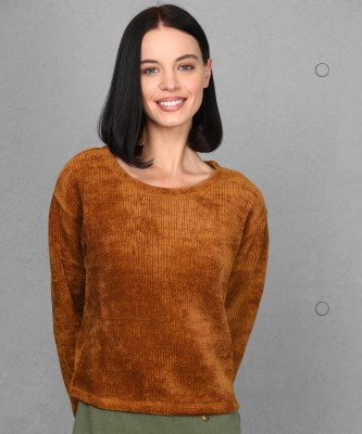 Metronaut Solid Round Neck Casual Women Brown Sweater