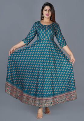 Glorious Women Printed Anarkali Kurta(Green)