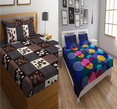 hmm 250 TC Cotton Double 3D Printed Bedsheet(Pack of 2, BLUE/BROWN)