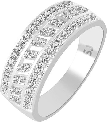VK Fashion Jewels Cluster Solitaire Band Brass Cubic Zirconia Rhodium Plated Ring VK Fashion Jewels Rings
