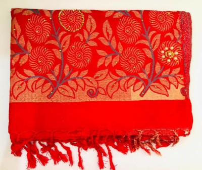 APNA KAPDA BAZAAR Wool Embroidered Women Shawl(Red)