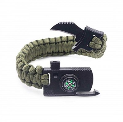 AddictERA Multi Functional Survival Paracord Bracelet Compass Knife Fire Starter Whistle Men & Women(Green, Pack of 1)