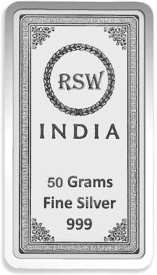 rsw rajasthan silver works S 999 50 g Silver Bar rsw rajasthan silver works Coins   Bars
