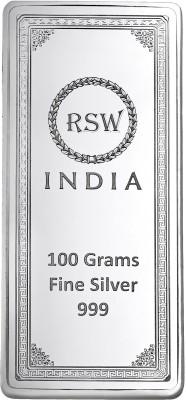 rsw rajasthan silver works S 999 100 g Silver Bar rsw rajasthan silver works Coins   Bars