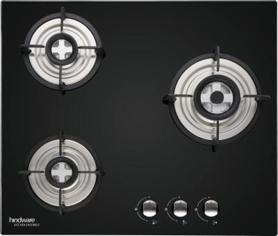 Hindware Nora 3B Hob Glass, Steel Automatic Hob(3 Burners)
