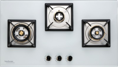 Hindware Elisa White 3B Hob Glass, Steel Automatic Hob(3 Burners)