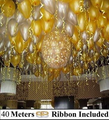 DECOR MY PARTY Solid Golden & Silver Metallic Balloons with Curling Ribbon for 1st Birthday Party Decorations , Welcome Baby Decoration , Bachelors Party , Diwali , New Year Party, Office Party , Christmas Decoration Items Balloon(Gold, Silver, Pack of 100)