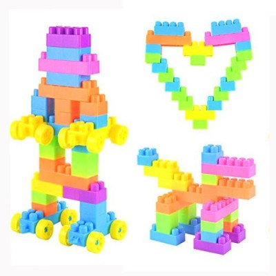 FRAONY (92 Pieces +8 Tyres) 100% GOOD QUALITY Educational Toy 100 Pcs Building Blocks   Fun Blast   safe and Non-Toxic   Educational Toys for Kids(Multicolor)