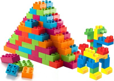 FRAONY BEST BABY BIRTHDAY GIFT (92 Pieces +8 Tyres) 100 Pcs Building Blocks,Creative Learning Educational Toy For Kids Puzzle Assembling Shape Building Unbreakable Toy Set(Multicolor)