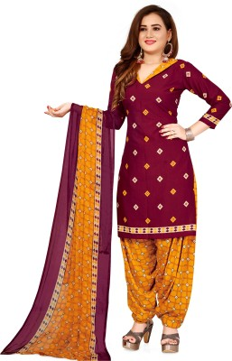 SAARA Crepe Checkered, Geometric Print, Printed Salwar Suit Material(Unstitched)
