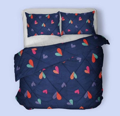 ESHLEY 3D Printed Double Comforter(Poly Cotton, Dark Blue)