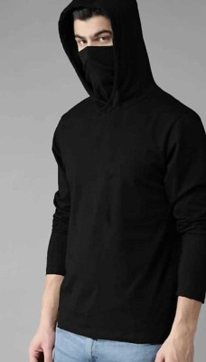 TheFashionPlus Solid Men Hooded Neck Black T-Shirt