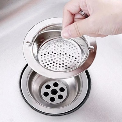 MobFest ® Large, 11cm with 2mm Dia Holes, Stainless Steel Sink Strainer with Handle, Kitchen Drain Basin Basket Filter Stopper, Strainer(Silver Pack of 1)