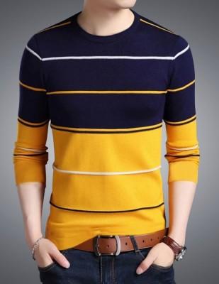 Seven Rocks Striped Men Round Neck Yellow T-Shirt