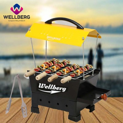 WELLBERG Hut Shaped Compact Charcoal & Electric Barbeque Grill Set (Black) Electric Grill