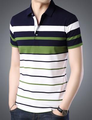 Seven Rocks Striped Men Polo Neck White, Blue, Green T-Shirt