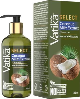Dabur Vatika Select Coconut Milk Extract Shampoo|Nourish & Restore|No Parabens, Sulphate & Silicones  (300 ml)