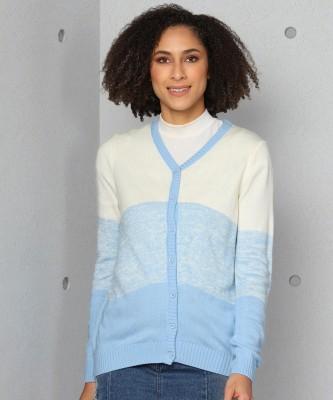 METRONAUT Self Design V Neck Casual Women Light Blue, White Sweater