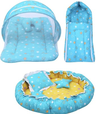 Fareto New Born Baby Daily Essentail Bedding Combo Pack(0-6 Months)(Total Items: 11)(Blue)