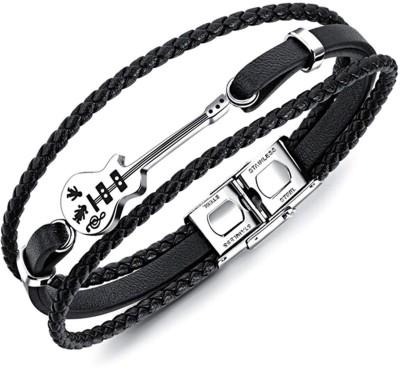 University Trendz Leather Silver Coated Bracelet