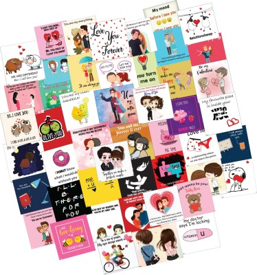 Festiko 48 Pieces 48 Romantic Love Notes Greeting Cards 3x3 Inches Greeting Card(Multicolor, Pack of 48)