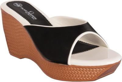 Olive Fashion Women Black, White Wedges