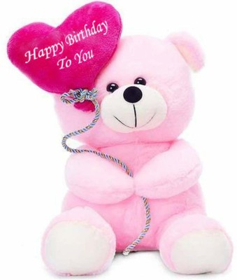 Zexsazone Soft push fabric teddy bear with birthday balloon and fully embroidery work 24 CM gift for birthday return gifting birthday boy baby sister lover wife girlfriend  - 24 cm(Pink)