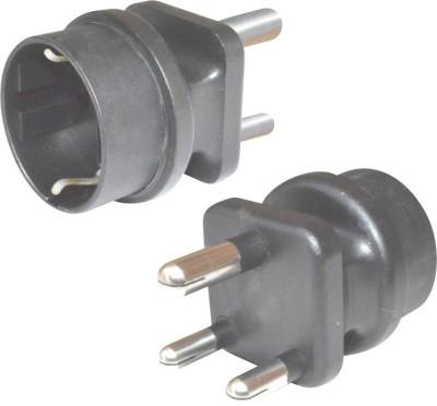 MX Indian Plug to Europe Schuko Socket   5 Amp Worldwide Adaptor Black