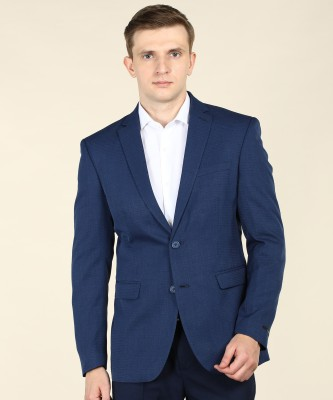 Peter England Self Design Single Breasted Casual Men Blazer(Blue)