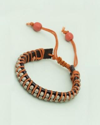 Voylla Leather Crystal Bracelet