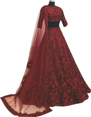FASHION BASKET Embroidered Semi Stitched Lehenga Choli(Red)
