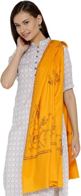 Weavers Villa Wool Embroidered Women Shawl(Yellow)