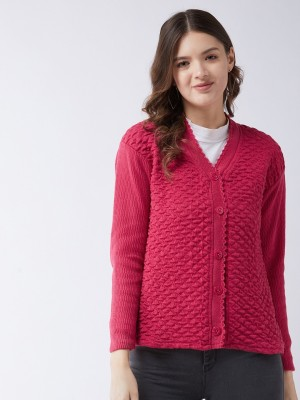 Pivl Self Design V Neck Casual Women Pink Sweater
