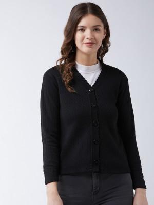 Pivl Self Design V Neck Casual Women Black Sweater