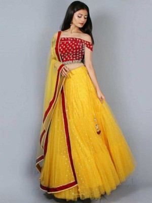 kush fashion Embroidered Semi Stitched Lehenga Choli(Maroon, Yellow)