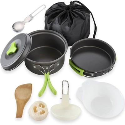 GAZE Camping Cookware Outdoor Mess Kit Lightweight Backpacking Cooking Set Picnic Pots and Pans Cookware Set(Hard Anodised, Aluminium, 10 -...