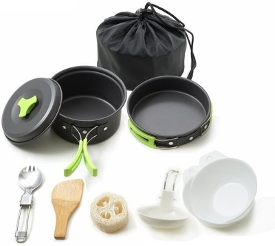 AltiCare Hiking Backpacking Non-Stick Portable Outdoor Camping Cookware Set Cookware Set(Hard Anodised, Aluminium, 10 - Piece)
