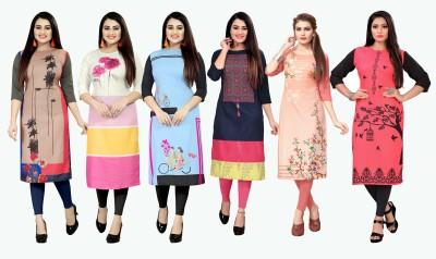 maruti fab Women Printed Straight Kurta(Beige, White, Light Blue, Dark Blue, Pink, Multicolor)