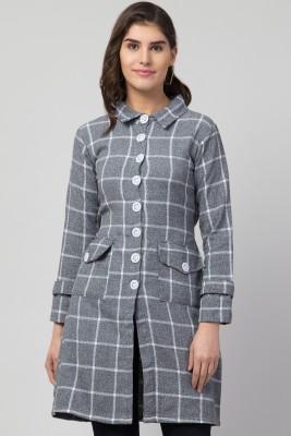 RVS FASHION MART Women Cotton Brushing Midi Short Checkered Coat
