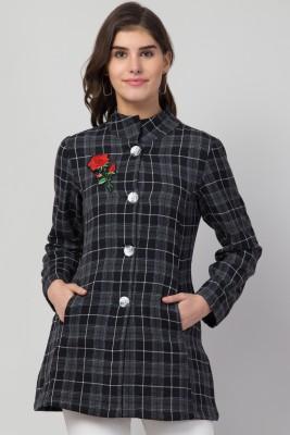 RVS FASHION MART Women Checkered Cotton Brushing Tweed Coat
